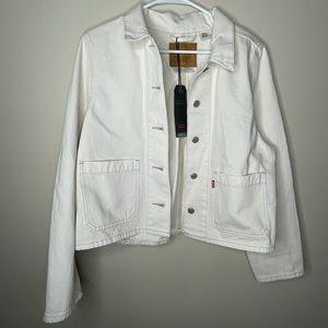NWT LEVI White Jean Jacket for women's